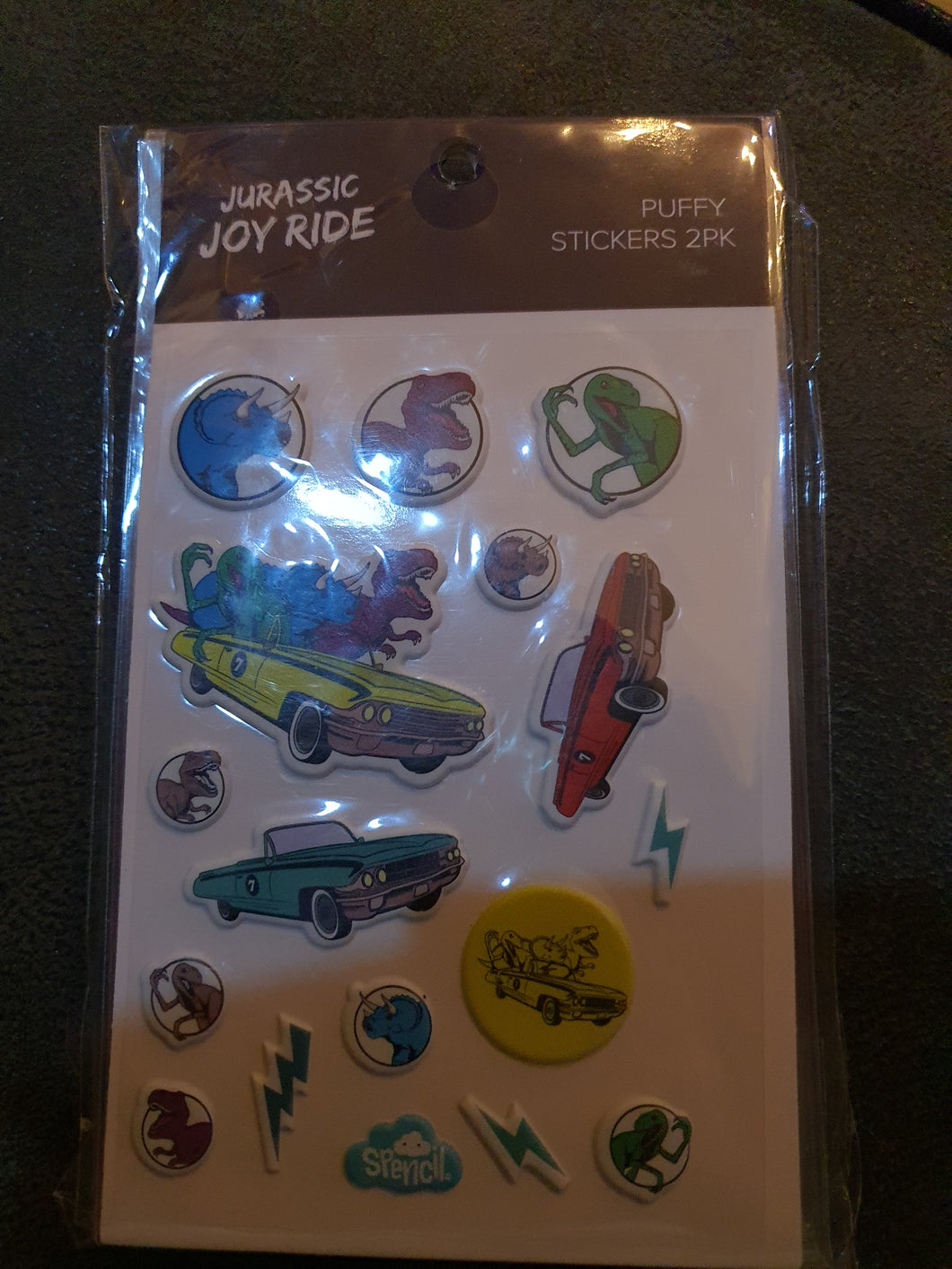 Spencil Jurassic Joy Ride Puffy Stickers 2pk