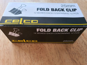 Celco 12 Boxes of 12 Pieces Fold Back Clips 25mm