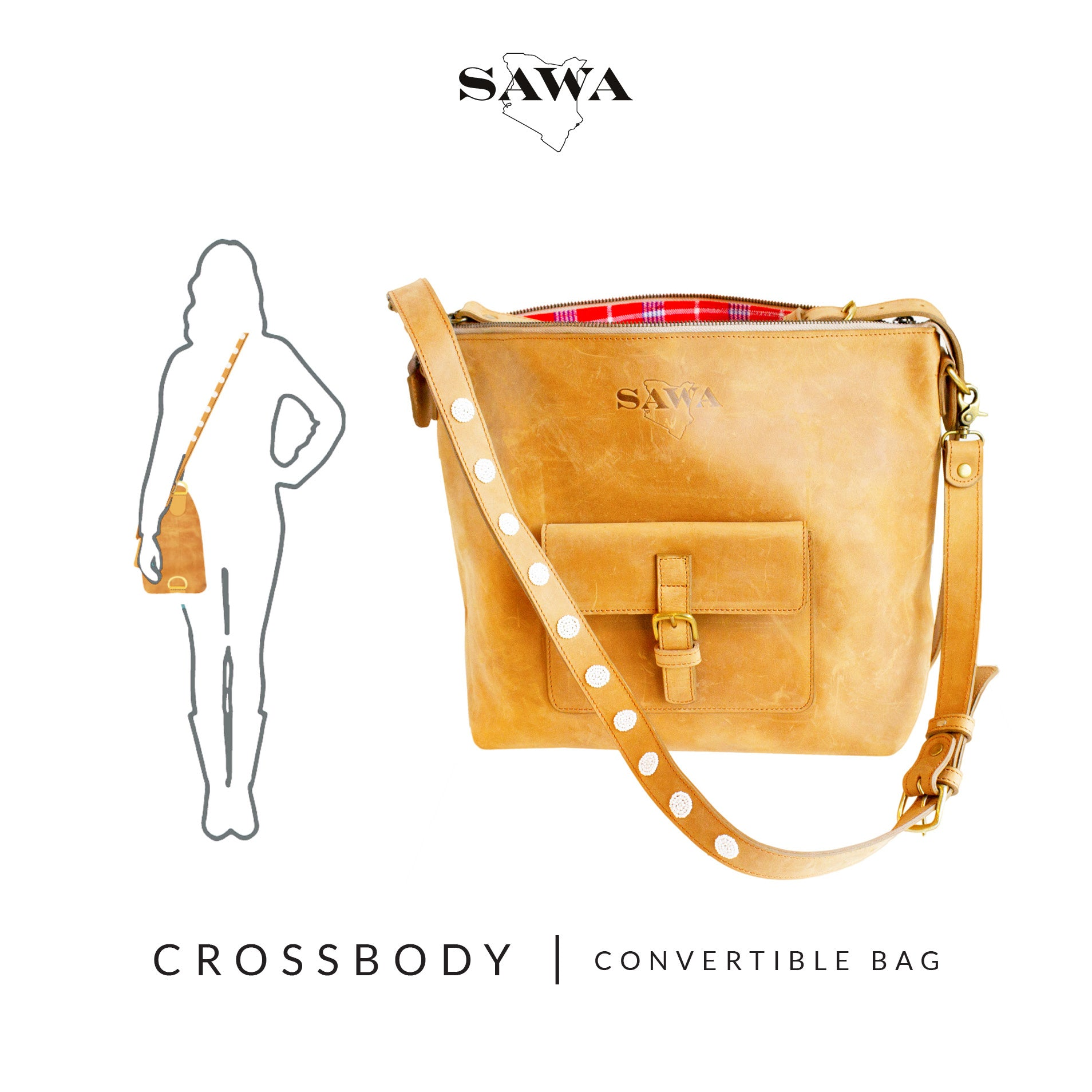 How to wear - Crossbody/Messenger Bag - The Sawa Shop Convertible Bag