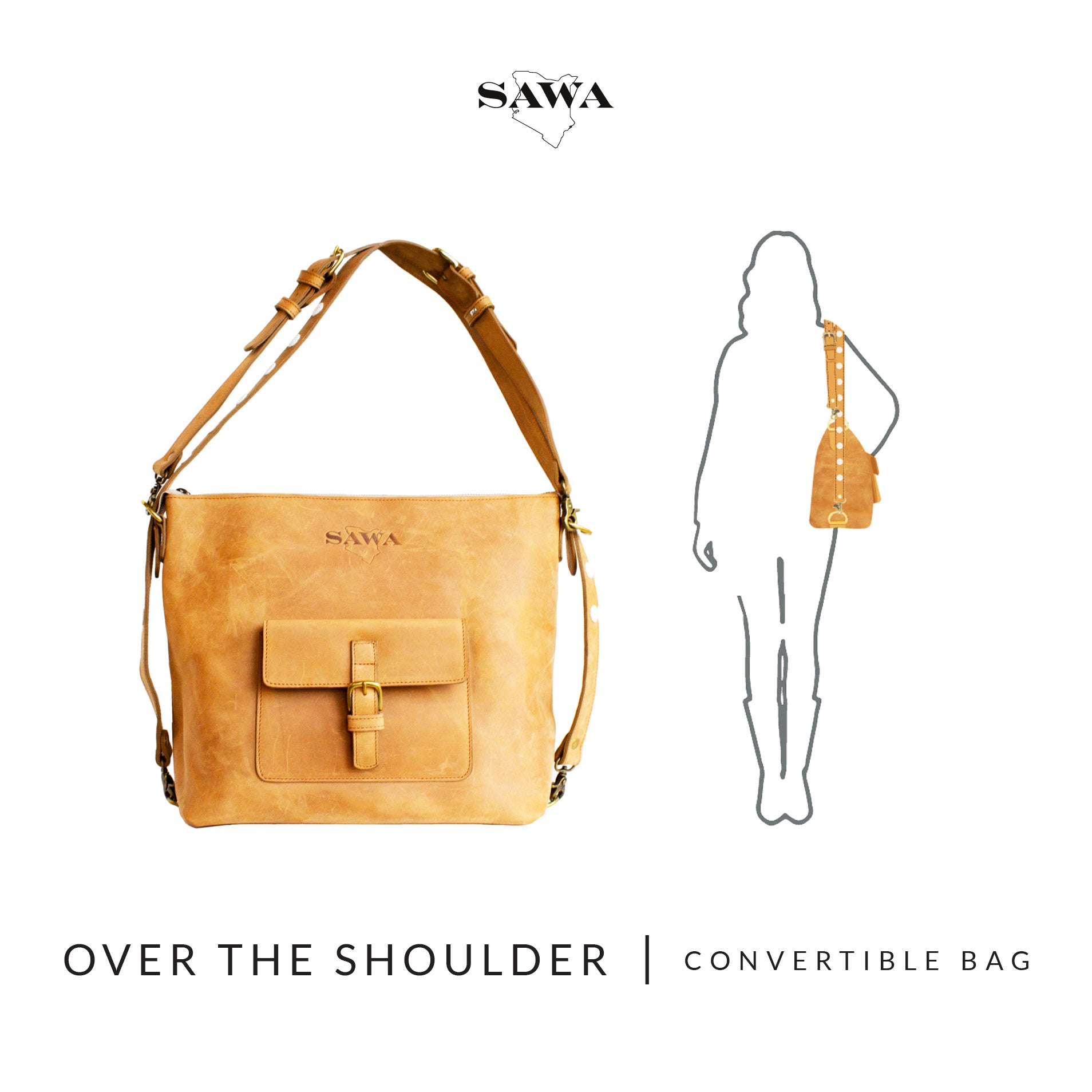 How To Wear - Over The Shoulder Bag / Handbag - The Sawa Shop Convertible Bag