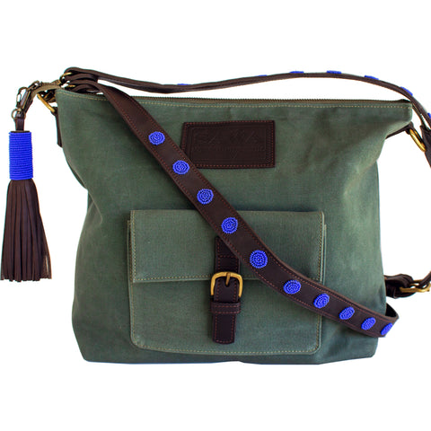 Safari Green Canvas Convertible bag,Convertible Bag/Backpack - thesawashop