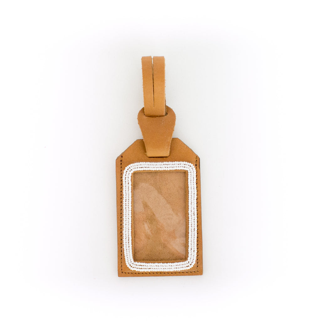Camel Leather Luggage Tag