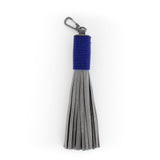 Hand Beaded Gray Leather Tassels