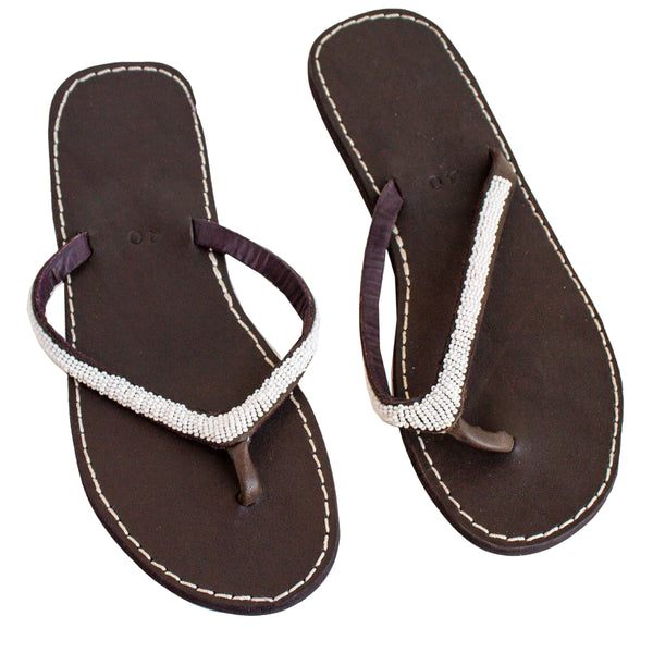 Leather Beaded Sandals,Sandals - thesawashop
