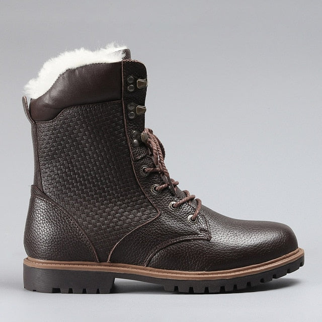 Stunor Wool Winter Men Snow Boots Natural Leather
