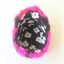 Load image into Gallery viewer, Hot Pink and Black Faux Fur Chevron Cap - AnneDePasquale