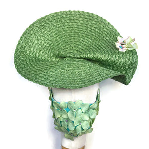 Green Woven Fascinator with hydrangeas