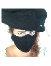 Load image into Gallery viewer, Black Face Mask with Veiling - AnneDePasquale