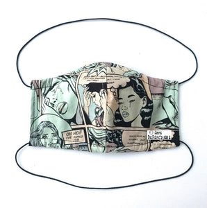 Sewing comic print face mask
