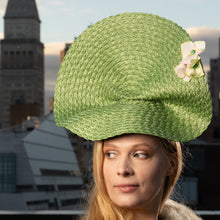 Load image into Gallery viewer, Green Woven Fascinator with hydrangeas