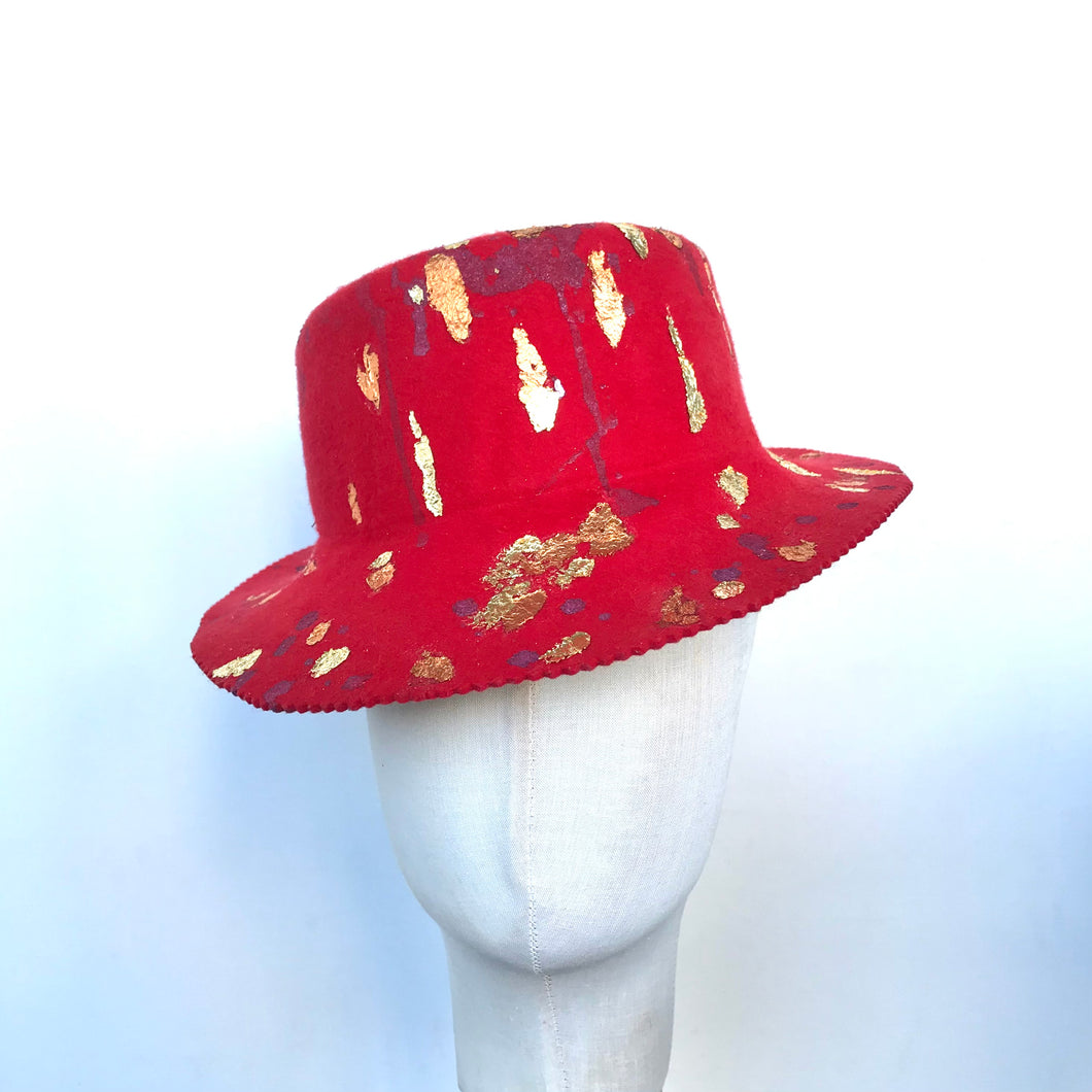 Red Topper Hat with Gold Leafing details - AnneDePasquale