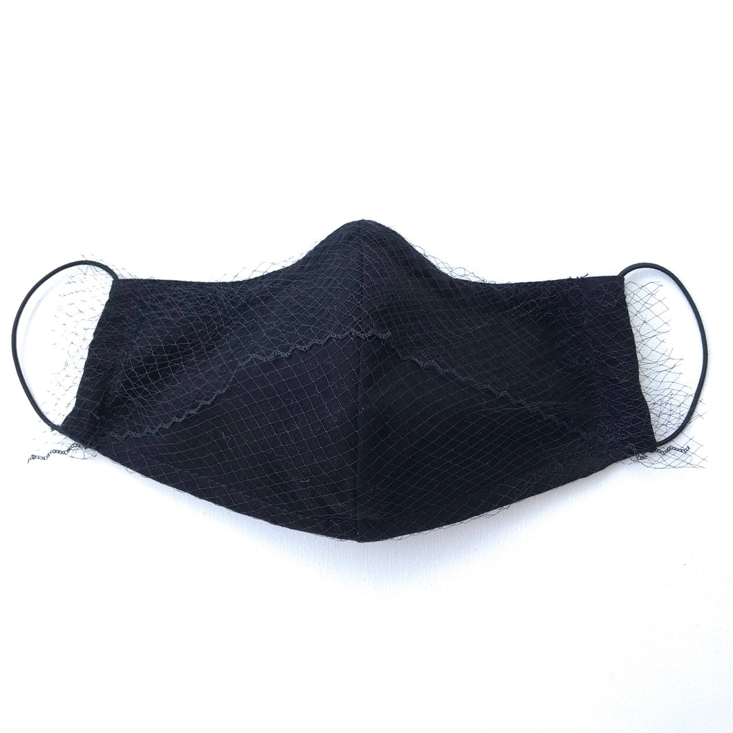 Black Face Mask with Veiling