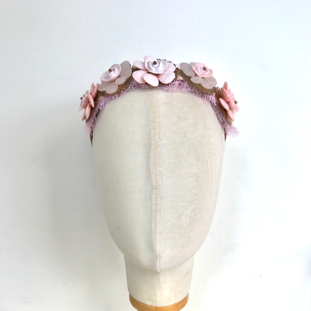 Pink Jeweled Flower Headband - AnneDePasquale