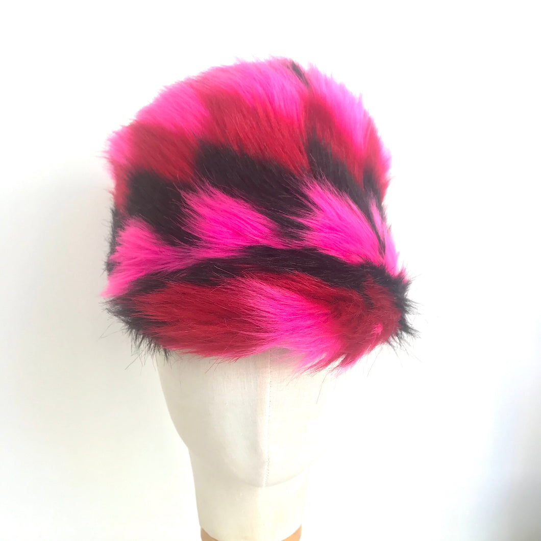 Hot Pink and Black Faux Fur Chevron Cap - AnneDePasquale