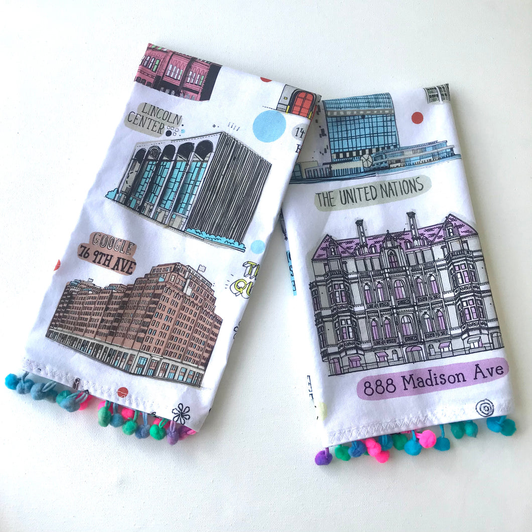 NYC Landmark buildings tea towel