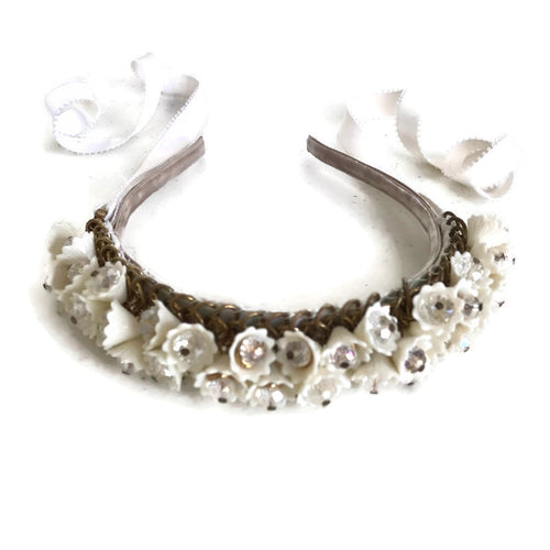 White Jeweled Flower Headband - AnneDePasquale