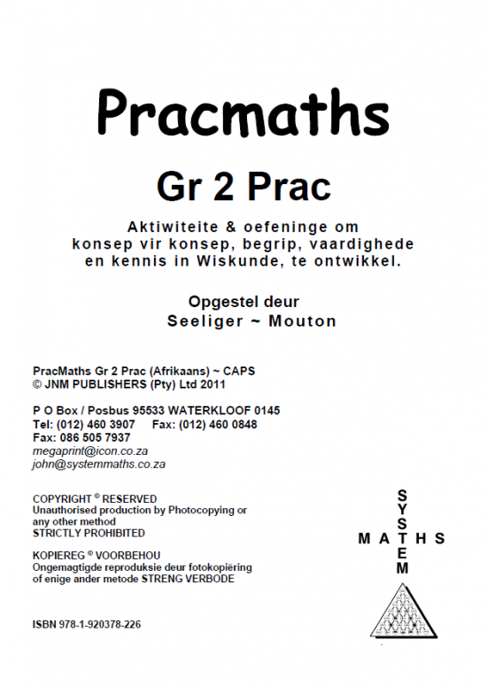 Gr 2 Prac Maths (Afr) + Memo