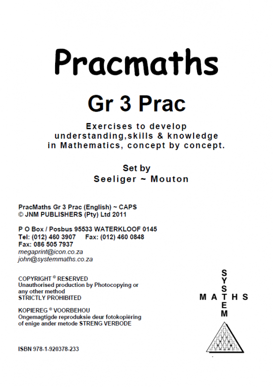 PracMaths - Grade 3 Book with Memo (English)