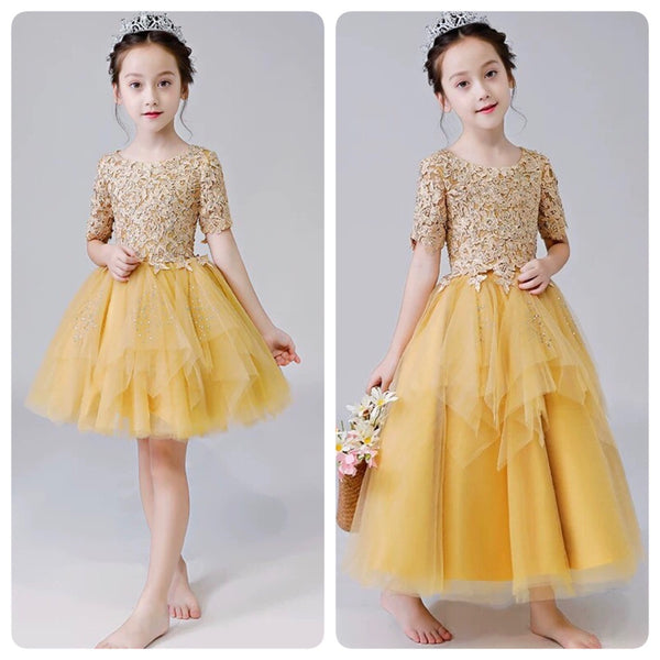 472b3f0b286 Yellow embroidered flower girl dress short yellow kid s gown