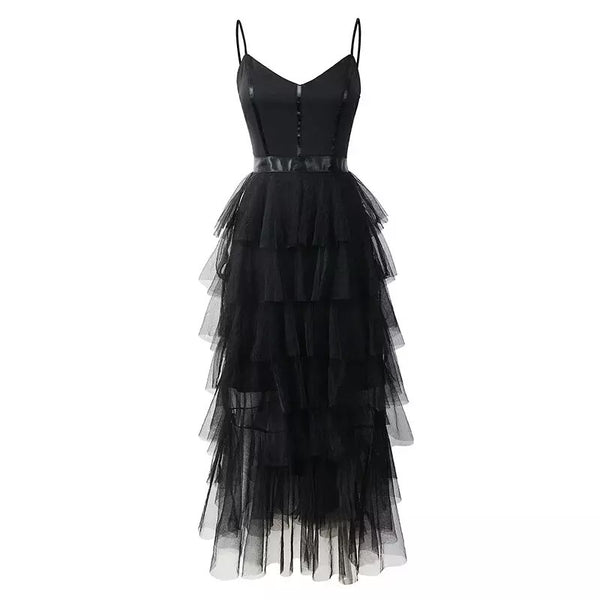 Spaghetti Straps Black Short Tulle Dress Holiday Dress Homecoming