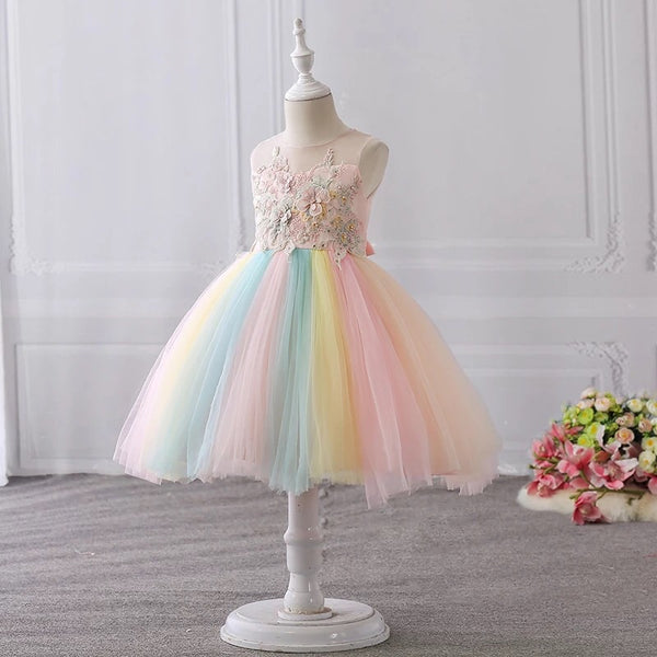 ced8c777deb0f Rainbow flower girl dress short tulle – longformaldress