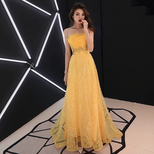 1422df921ba4 ... Off the shoulder sequin yellow prom dress sky blue gown ...