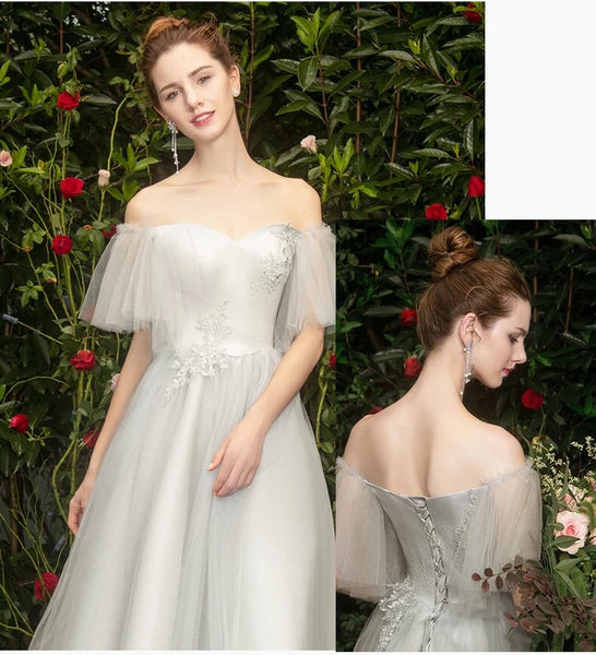 3205da195e0b ... Calf Length gray embroidered tulle bridesmaid dress boat neck grey prom  dress ...