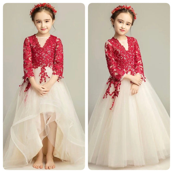 4e66e28a8d Long sleeve red lace flower girl dress – longformaldress