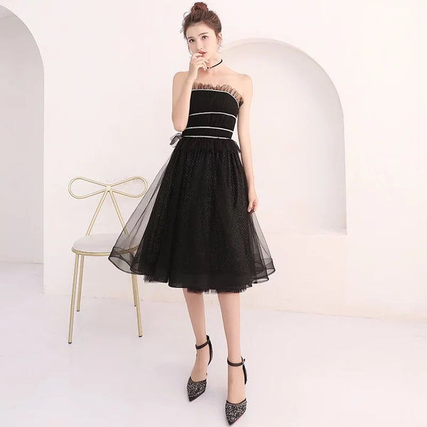 Black Strapless Tulle Prom Dress Short Party Dress Homecoming Dress