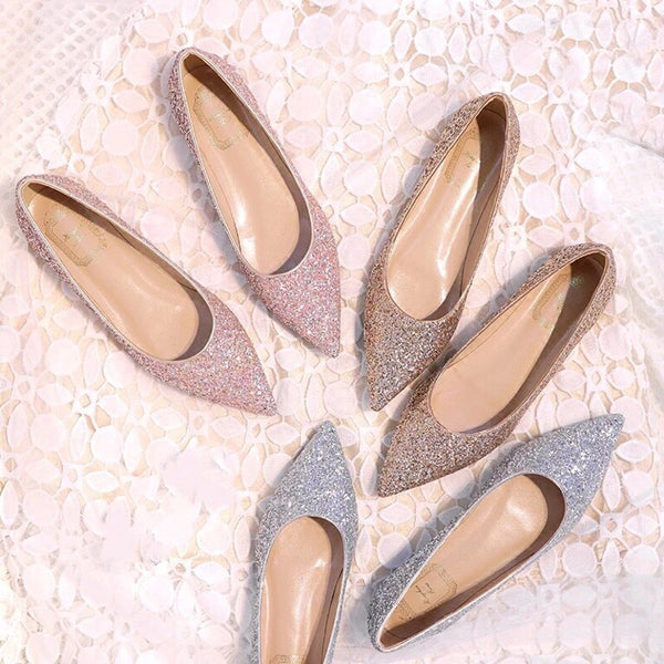 Flat Heels Prom Shoes Silver Champagne Pink Color