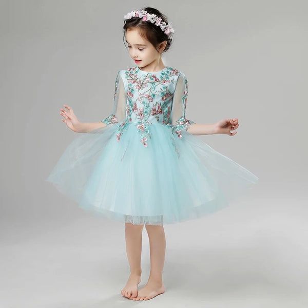 Long Sleeve Kids Short Gown Embroidered White Flower Girl Dress