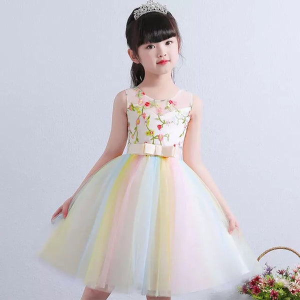3313ce6b8d493 Embroidered rainbow flower girl dress