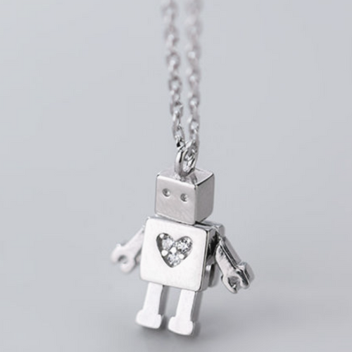 Silver Robot Necklace