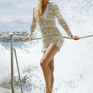Women's Long Sleeve Lace Crochet Hollow out Bikini Cover up