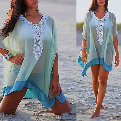 Sexy See Through Lace Patchwork Half Sleeve Beach Cover Up Dress