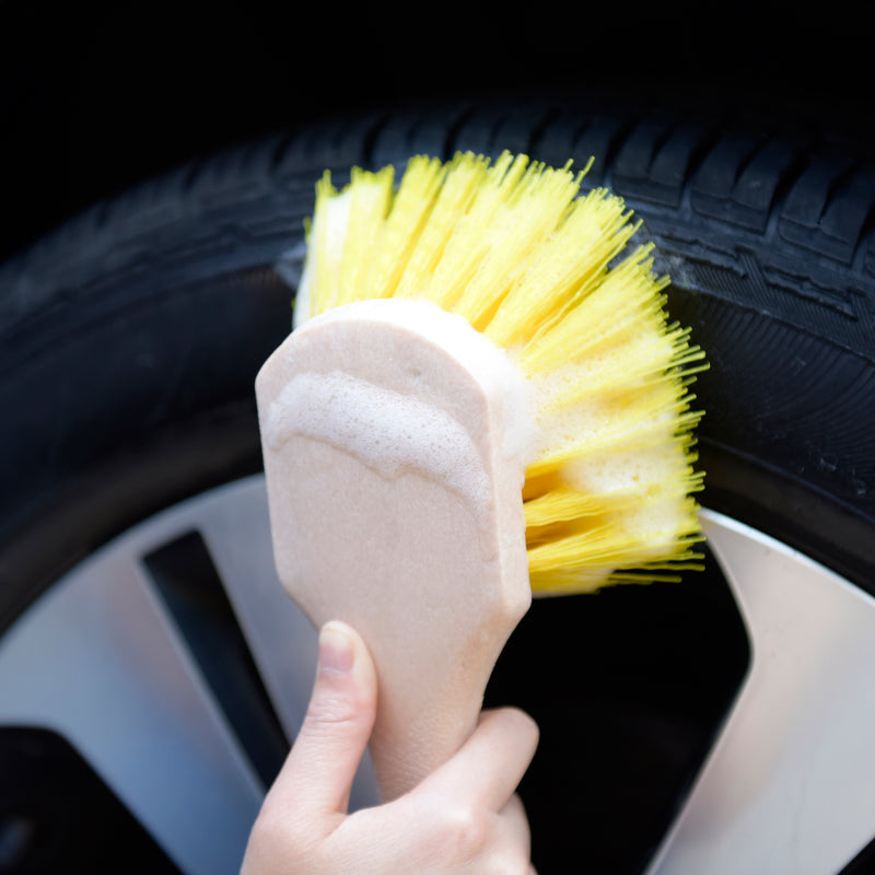 Short Handle Brush Soft PVC Feather Tip Bristles Tire