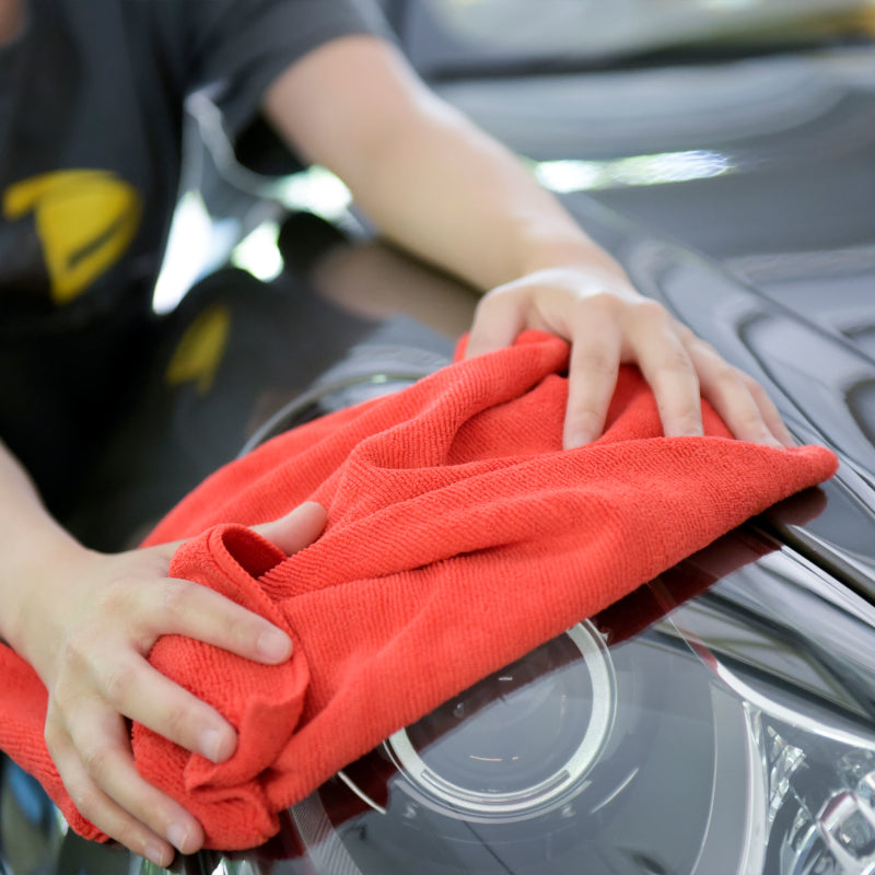 "Car Wash Drying Microfiber Basic Towel, 16"" x 16"", 380 GSM - 6 Pcs/Pack, Fred Red"