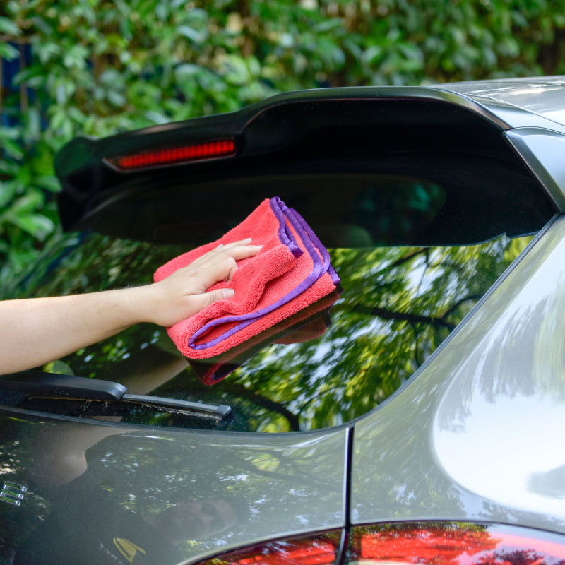 Car Wash and Clean Microfiber Long/Short Hair Towel, Red with Purple Silk Binding, 380 GSM - 6PCS/PK