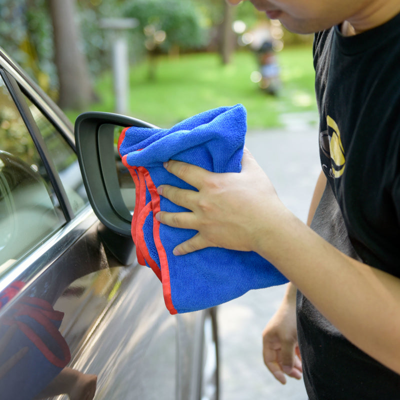 Car Wash and Clean Microfiber Long/Short Hair Towel, Blue with Red Binding, 380 GSM - 6PCS/PK