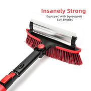3-in-1 Heavy Duty Snow Removal Brush w. Ice Scraper (2.6-3.4 ft. Extension)