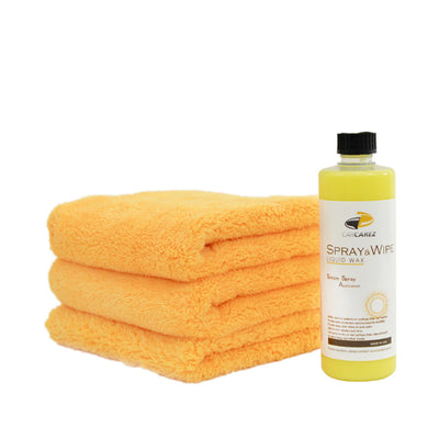 Spray & Wipe (Liquid Wax) Kit w. Edgeless Microfiber Towels - CarCarez Auto Detailing Products and Car Wash Supplies
