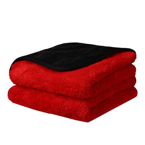 "16""x16"" Microfiber Dual-Faced Towels Black/Red with Black Trim, pack of 1pc - CarCarez Professional Auto Detailing and Cleaning Products"