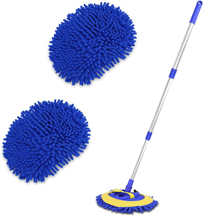 2-in-1 Telescopic Chenille Car Wash Mop w. Removable Wash Mitt (1.75-3.75 ft. Extension) - CarCarez Auto Detailing Products and Car Wash Supplies