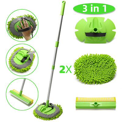 3-in-1 Chenille Wash Mop & Window Cleaner w. Removable Car Wash Mitt (3.75 ft.) - CarCarez Auto Detailing Products and Car Wash Supplies