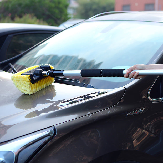 "Car Wash 10"" Brush Head with Extension Long Handle Flow-Thru Pole for Detailing Washing Vehicles, Boats, RVs, ATVs - CarCarez Professional Auto Detailing and Cleaning Products"