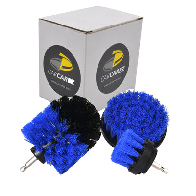 All Purpose Power Scrubber Cleaning Kit (3 Piece Set - Blue, Medium Bristle) - CarCarez Auto Detailing Products and Car Wash Supplies