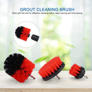 All Purpose Power Scrubber Cleaning Kit (3 Piece Set - Red, Medium Bristle)