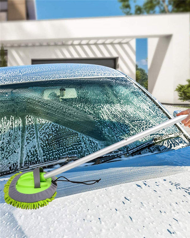 3-in-1 Chenille Wash Mop & Window Cleaner w. Removable Car Wash Mitt (3.75 ft.)
