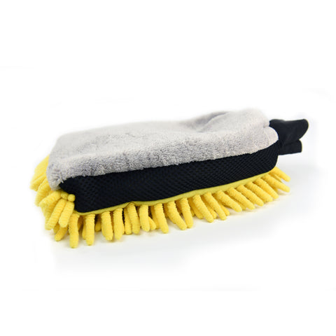 Car Wash Dual Faced Microfiber & Long Nap Chenille Wash Mitt Gray/Yellow