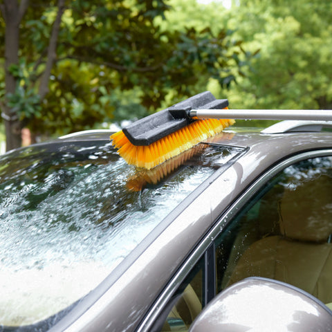 "15"" Flow-Thru Bi-Level Car Wash Brush Head Fits for RV Cleaning with Feather-Tip Bristles"